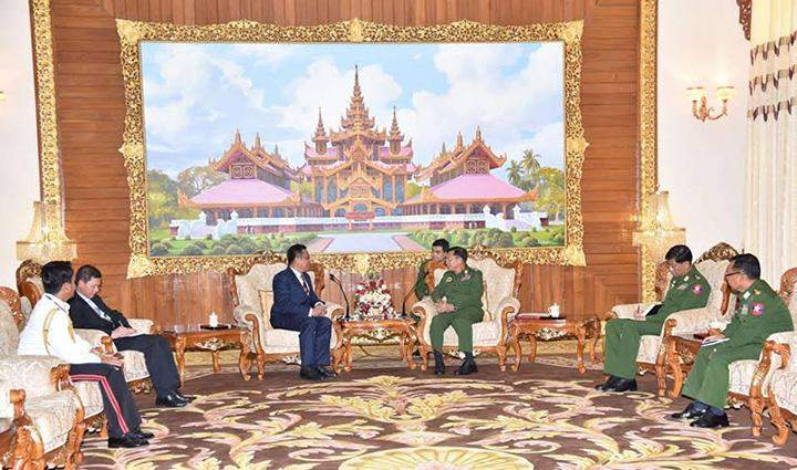 Senior General Min Aung Hlaing receiving Cambodian Ambassador to Myanmar Mr SOK Chea in Nay Pyi Taw.