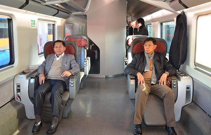 Senior General Min Aung Hlaing being seen on a special express train to Florence.
