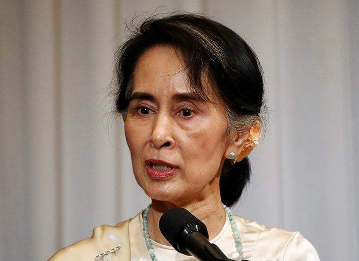 State Counsellor Daw Aung San Suu Kyi delivers a speech during a luncheon organised by Japanese business and economic associations in Tokyo, Japan on 4 November 2016.