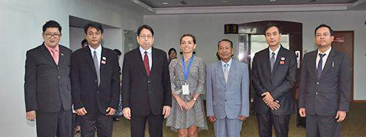 The Myanmar delegation being seen at Yangon International Airport before departure for Paris.
