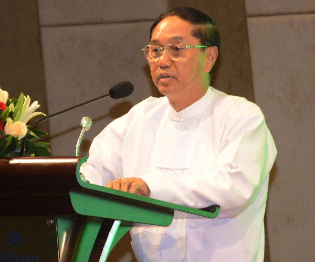 Vice President U Myint Swe delivers an address at the meeting with development partners for enhancement of the trade sector in Nay Pyi Taw on 2nd November, 2016. Photo: MNA