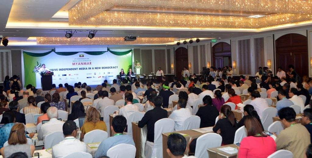 Union Minister for Information U Pe Myint addresses the 5th Conference on Myanmar Media Development in Yangon attended by government officials and media. Photo: MNA