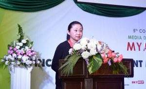 Head of UNESCO (Myanmar) Ms. Min Jeong Kim delivers speech at the 5th Conference on Myanmar Media Development. Photo: MNA