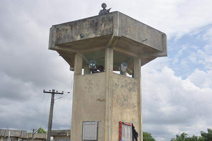 Police sentry tower being seen.