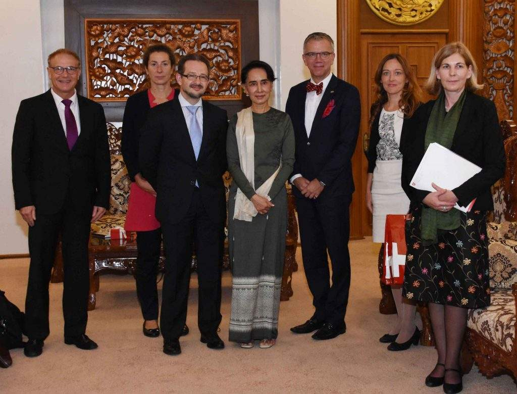 State Counsellor  Daw Aung San Suu Kyi receives Assistant State Secretary for Asia Pacific of the Federal Department of Foreign Affairs of the Swiss Confederation. Photo: MNA