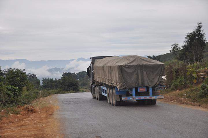 A truck runs in Muse Township, northern Shan State.