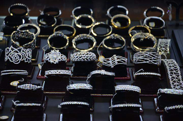 Golden wares being displayed at a jewellery in Yangon.