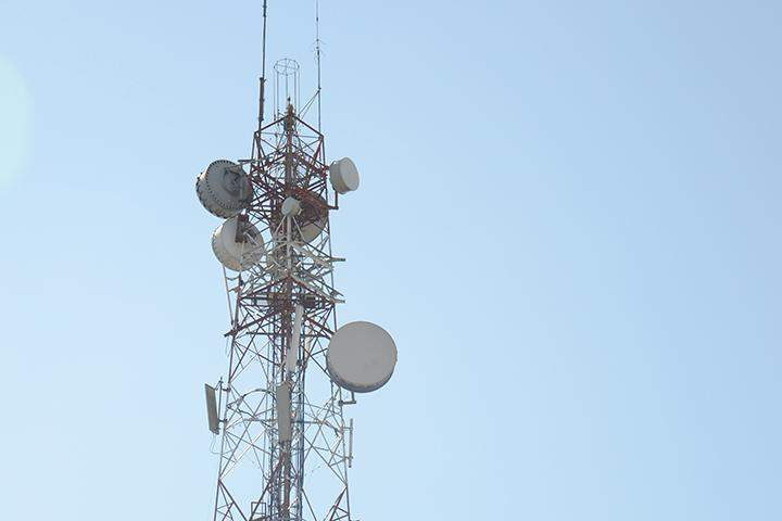 A telephone tower seen in Yangon. Photo: Phoe Khw