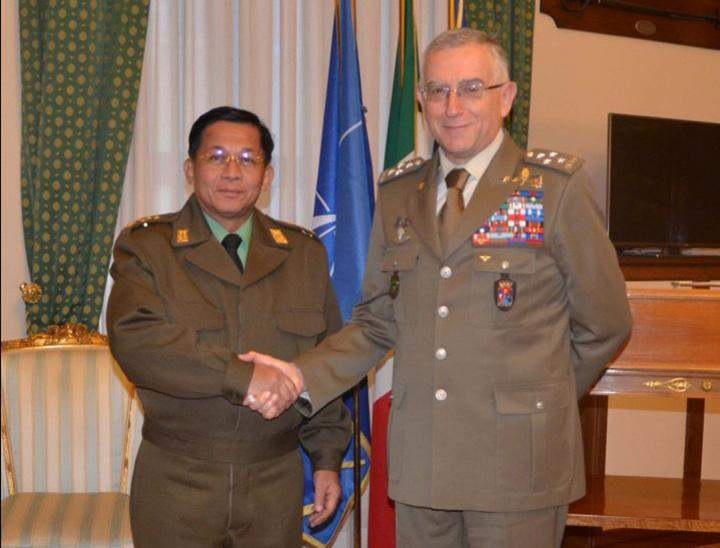 Senior General Min Aung Hlaing, who is on a goodwill visit to  Italy, met on Friday with General Claudio Graziano, Chief of  Defence Staff of the Italian Armed Forces.