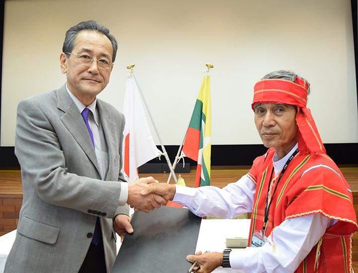 Japan Ambassador Mr. Tateshi Higuchi providing the grant.