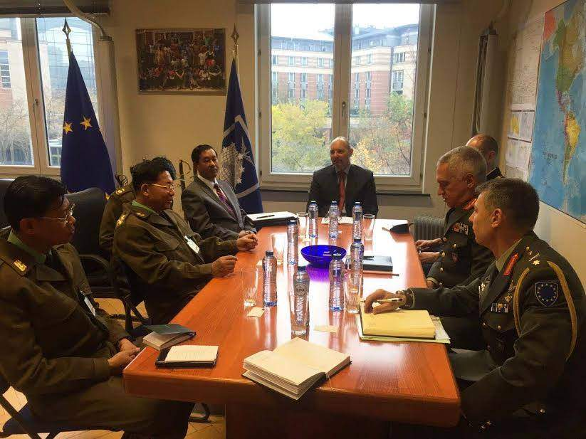 Senior General Min Aung Hlaing, Commander-in-Chief of the Defence Services, meeting with General Mikhail Kostarakos, Chairman of the European Military Council General Mikhail Kostarakos, in Brussels, Belgium. Photo: MNA
