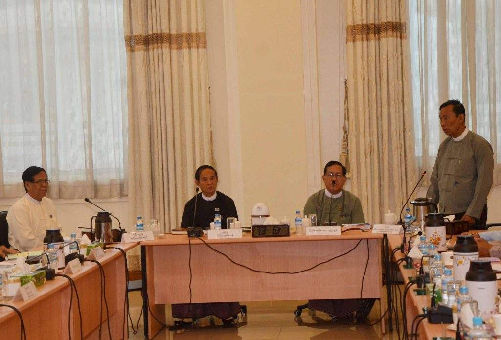 Thura U Shwe Mann discussing at the work coordination meeting. Photo: MNA