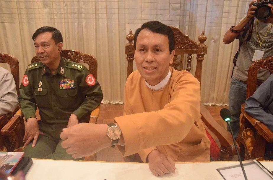 U Phyo Min Thein shows his watch to media at the press conference. Photo: Zaw Gyi (Panita)