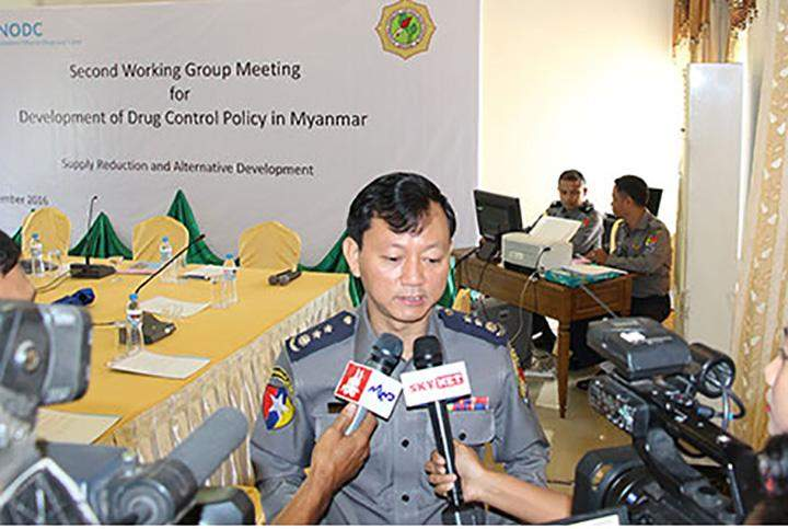 Police Colonel Zaw Lin Tun briefs media on the need for a balanced drug policy.