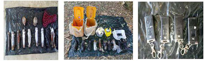 File photos show IEDs which were found in Myazin Village, Maungtaw Township.Photo: MNA