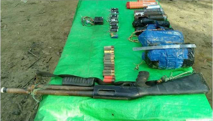 Arms, ammunition and landminees discovered on 4 October.Photo: MNA