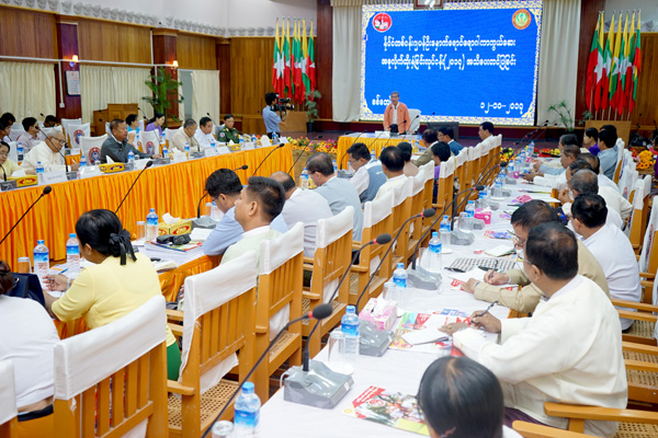 Chief Minister of Rakhine State U Nyi Pu addresses a ceremony to announce the mass vaccination programme.Photo: MNA