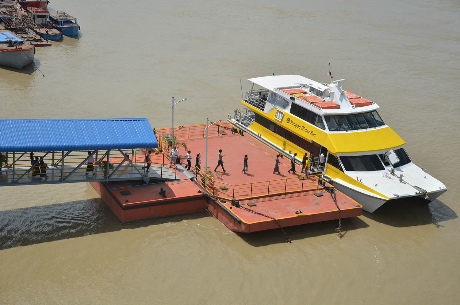 A water bus docked at the jetty.Photo: Zaw Gyi