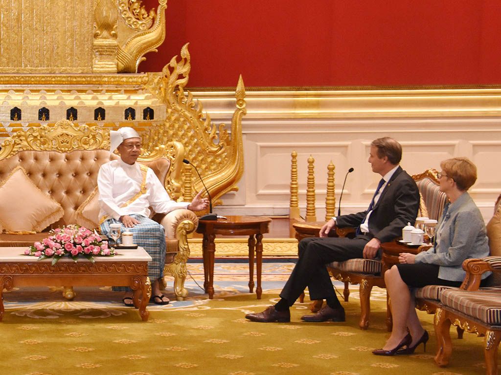President U Htin Kyaw receives Mr. Kristian Schmidt, the newly-accredited Ambassador of the Delegation of the European Union to Myanmar, at Presidential Palace in Nay Pyi Taw.Photo: MNA