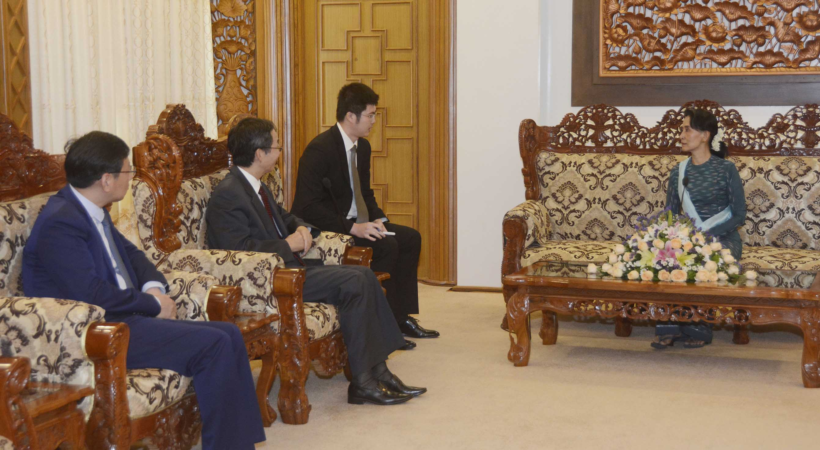 State Counsellor Daw Aung San Suu Kyi meets with Mr. Sun Guoxiang, Special Envoy for Asian Affairs of the Ministry of Foreign Affairs of the People's Republic of China in Nay Pyi Taw on 16 October 2017.Photo: MNA