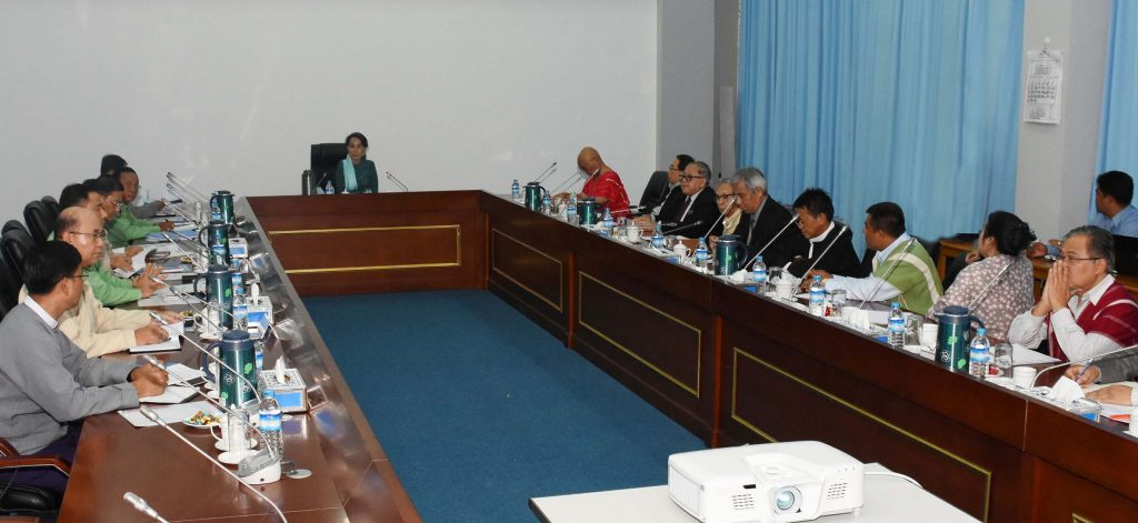 Daw Aung San Suu Kyi meeting with representatives of the signatories to the Nationwide Ceasefire Agreement.Photo: MNA