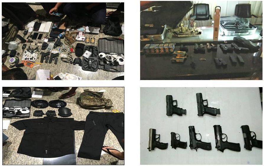 File photos show confiscated firearms, ammunitions and stimulant tablets at the Nay Pyi Taw international airport.Photo: Ministry of Home Affairs