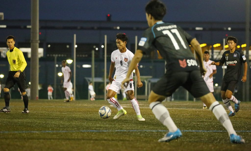 Myanmar star player Myat Kaung Khant poised to shoot the ball in yesterday's match. Photo: MFF