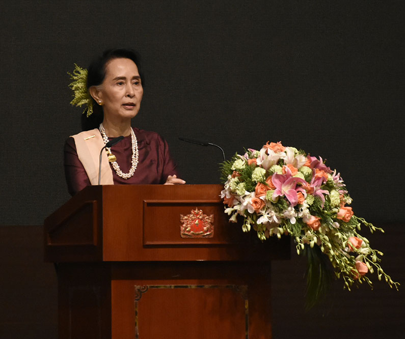 State Counsellor Daw Aung San Suu Kyi delivering at the 2nd  anniversary of the signing of NCA. Photo: MNA