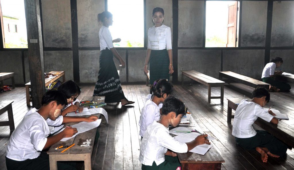 Teachers at a school in Sittway two days before the announcement of the appointment of 101 new teachers for Rakhine State.Photo: Min Thit