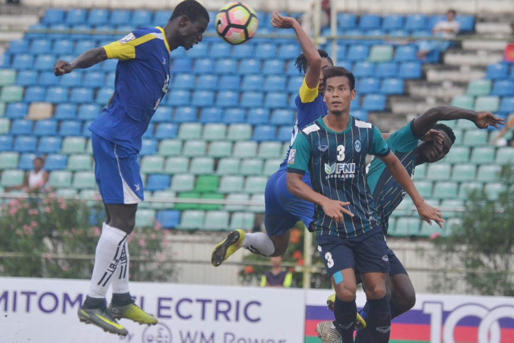 File photo was taken at the first leg of Yangon United FC and Yadanarbon FC at the playground of Yangon United FC. PHOTO SOE NYUNT