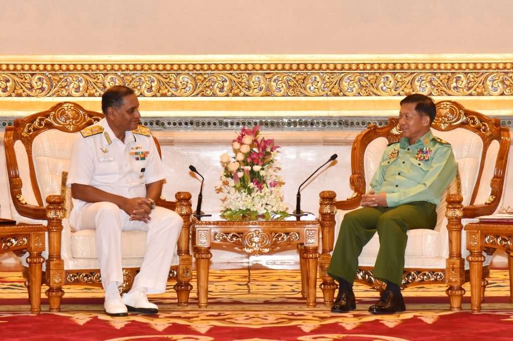 Senior General Min Aung Hlaing receives Thailand Foreign Minister and Indian C-in-C separately