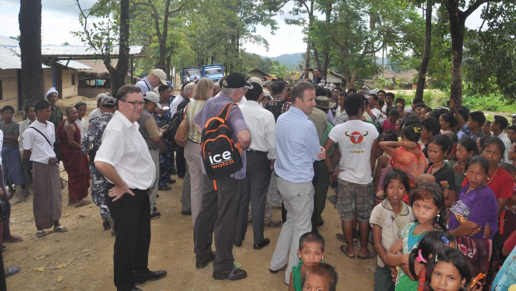 Diplomats and UN agencies representatives meets with villagers in northern Rakhine on 2 October.Photo: MNA
