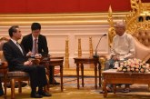 President  U Htin Kyaw receives China's Foreign Minister