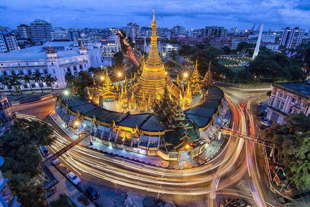 The night scene of Sule Pagoda landmark ancient Pagoda at blue hour in downtown Yangon. Photo: Thwe Thwe Tun