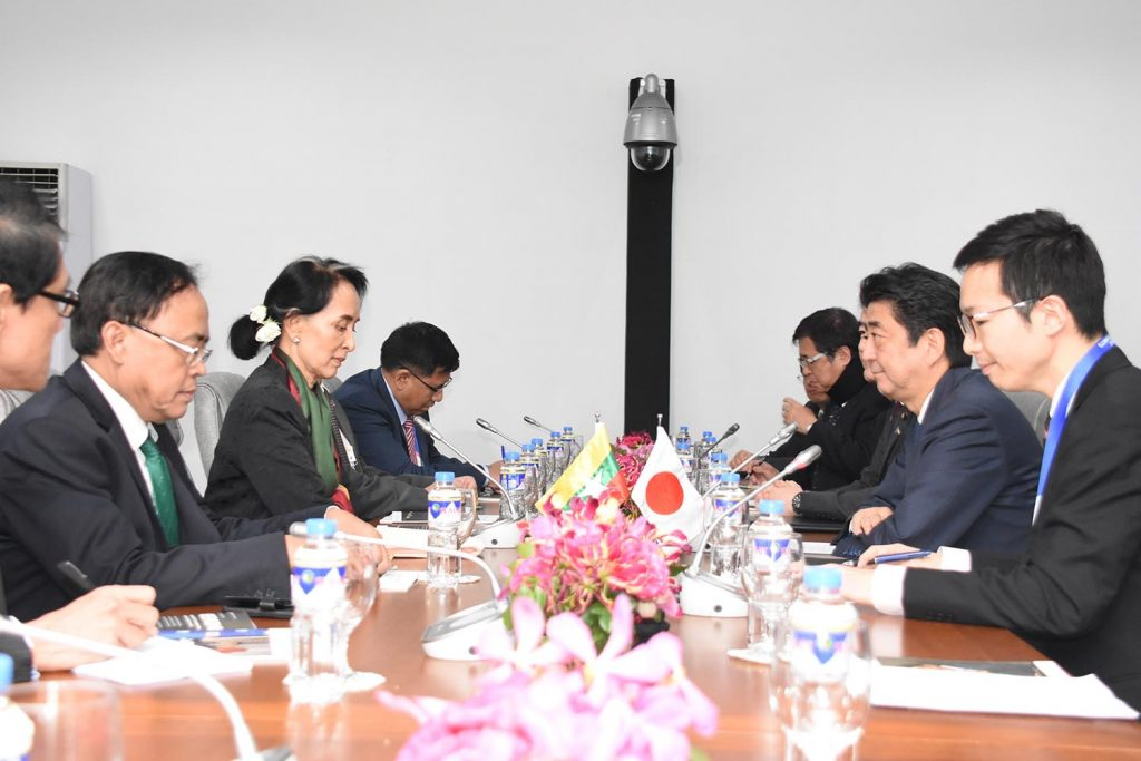 State Counsellor Daw Aung San Suu Kyi holds talks with Prime Minister of Japan Mr. Shinzo Abe at the Philippines International Convention Centre in Manila, on 14 November 2017. Photo: MNA
