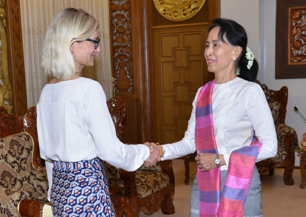 State Counsellor Daw Aung San Suu Kyi welcomes Ms. Ulha Toernaes, Minister for Development Cooperation of Denmark.Photo: MNA