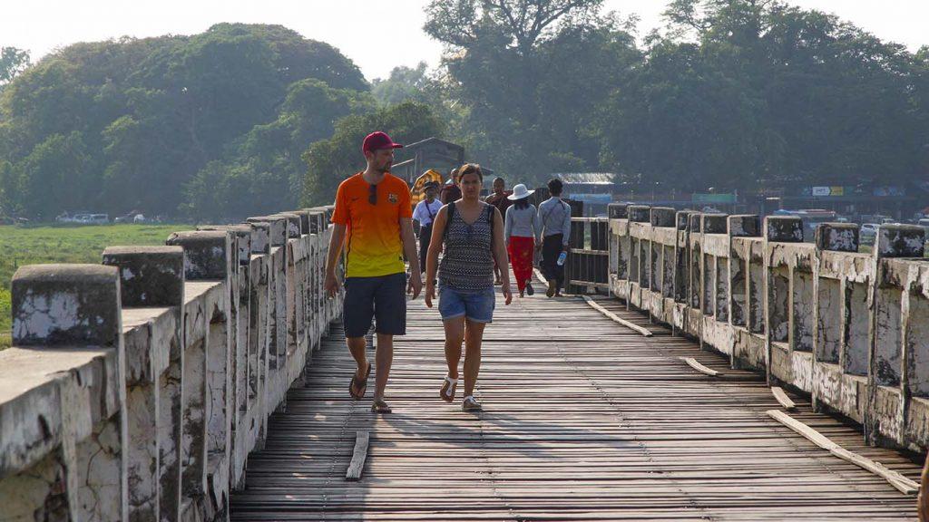 Tourists on U Bein Bridge in Mandalay. Vice President U Henry Van Thio called for development of new tourist sites.Photo: Nyi Zaw Moe