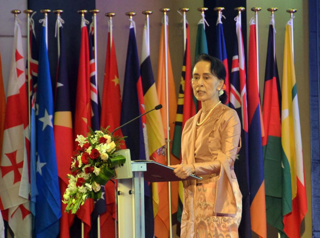 State Counsellor Daw Aung San Suu Kyi delivers the opening speech at the 3rd Asia-Pacific Water Summit  in Yangon. Photo: MNA