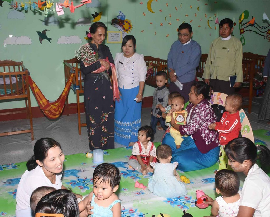 """State Counsellor Daw Aung San Suu Kyi visits the """"Mother's Bosom"""" child day care centre.Photo: MNA"""