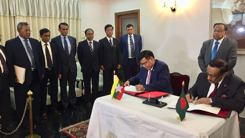 Myanmar and Bangladesh sign for an agreement on the Terms of Reference of the Joint Working Group.Photo: MNA