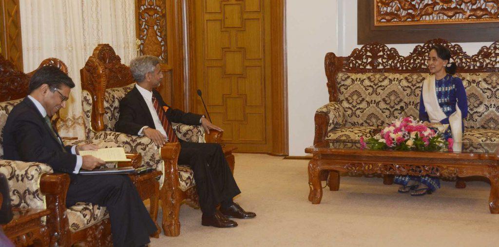 State Counsellor Daw Aung San Suu Kyi meets Dr. S. Jaishankar, Foreign Secretary, Ministry of External Affairs at the Ministry of Foreign Affairs yesterday. Photo: MNA
