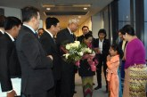President U Htin Kyaw and wife arrive in Japan