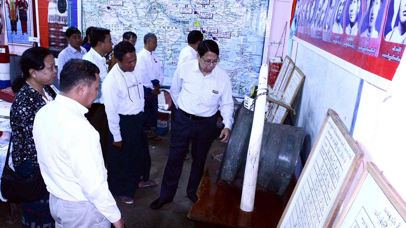 Union Minister Dr. Pe Myint visits the preparations for the opening ceremony at Children's Literature Festival in Myeik. Photo: MNA
