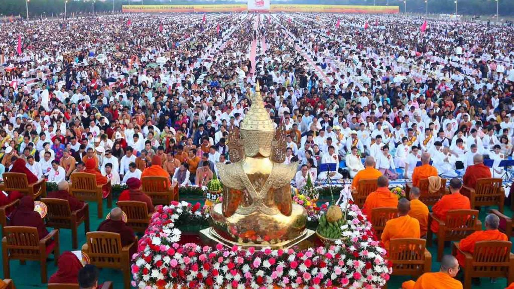 An auspicious and grand religious ceremony to offer provisions to members of the Sangha in progress in Mandalay. Photo: MNA