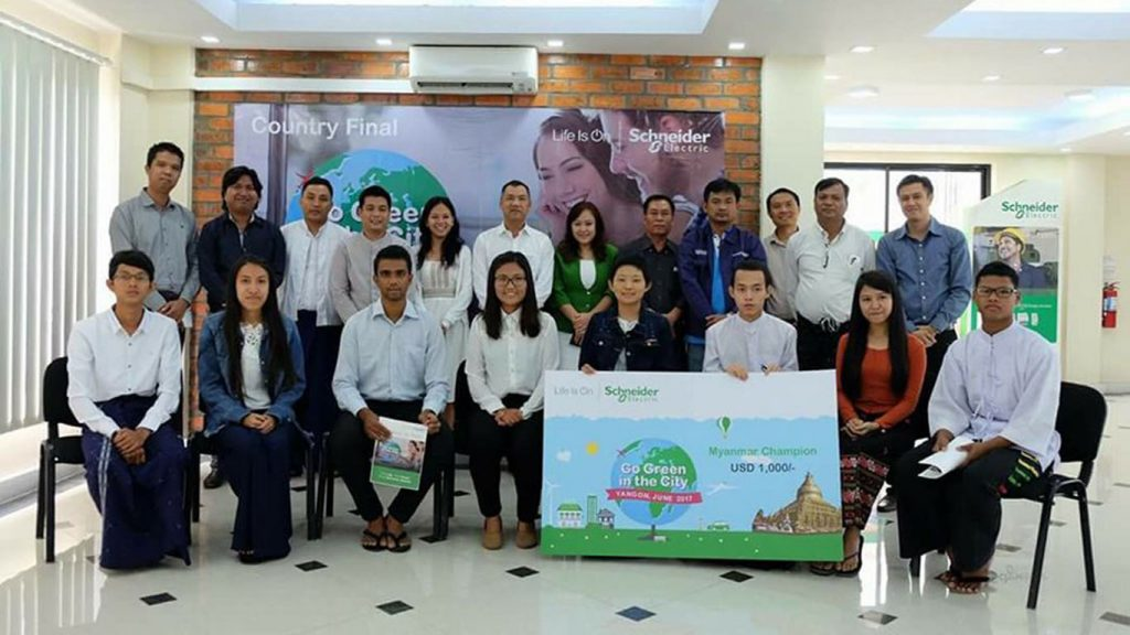 Myanmar outstanding students who stood top-9 of Go Green in City 2017 competition pose for a commemorative photo. Photo: Hla Moe