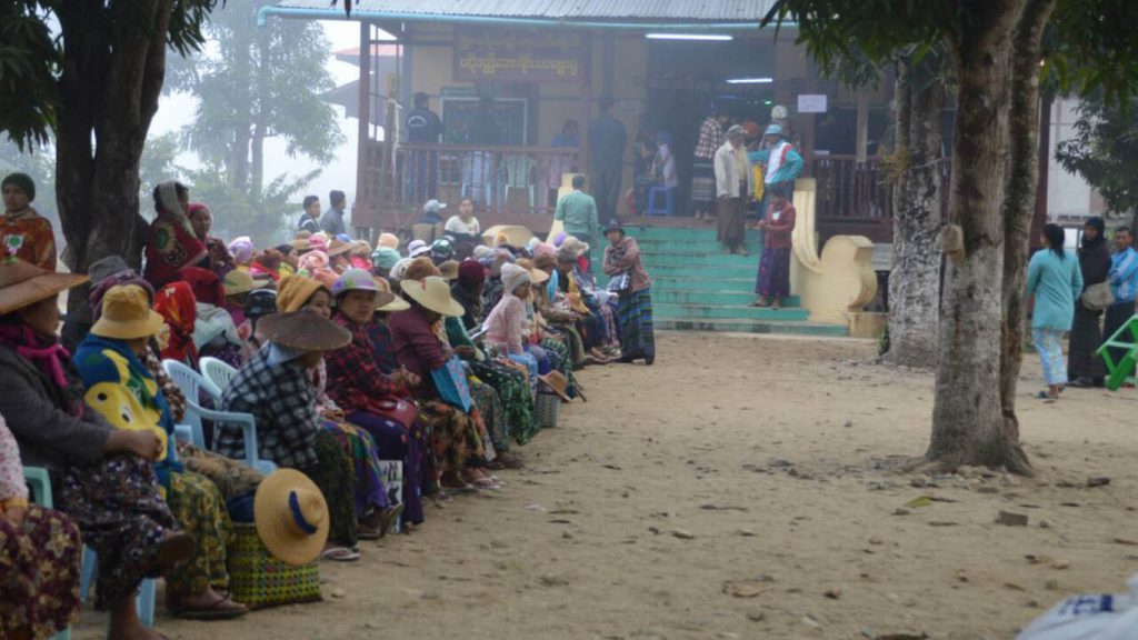 Patients waiting to receive free eye treatment at a camp in Indaw Township, Katha District. Photo: Lu Aung (Katha)