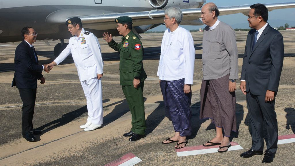 Vice President U Myint Swe arrives at Nay Pyi Taw International Airport after attending 2nd LMC Leader's meeting held in Phnom Penh, Cambodia yesterday.Photo: MNA