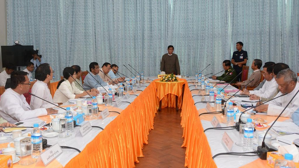 Vice President U Henry Van Thio delivers the speech at the coordination meeting of National Water Resources Committee.Photo: MNA