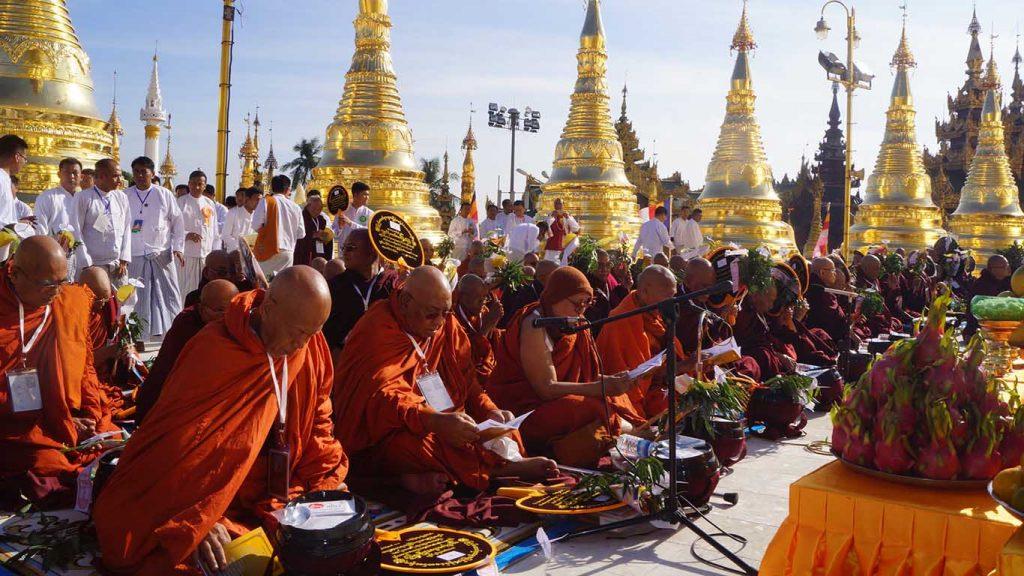 Sayadaws consecrate the Shwedagon Pagoda yesterday. Photo: MNA