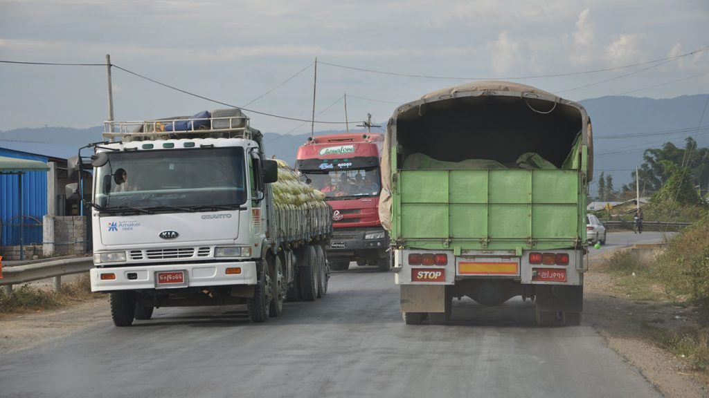 Trucks are seen near the 105-Mile Muse Border Trade Zone in northern Shan State.Photo: Phoe Khwar